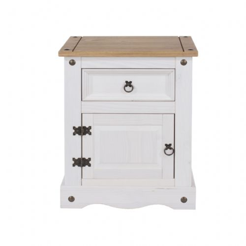 Premium Whitewashed Corona 1 Door and Drawer Bedside